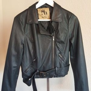 Faux Black Leather Jacket size M